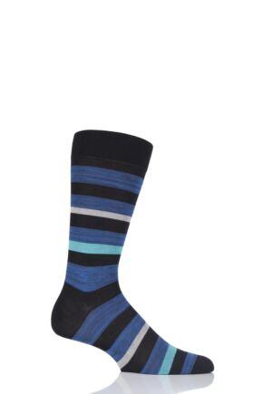 Mens 1 Pair Pantherella Salton Space Dye Stripe Cotton Socks