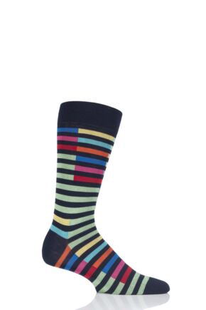 Mens 1 Pair Richard James Santos Staggered Stripe Cotton Socks