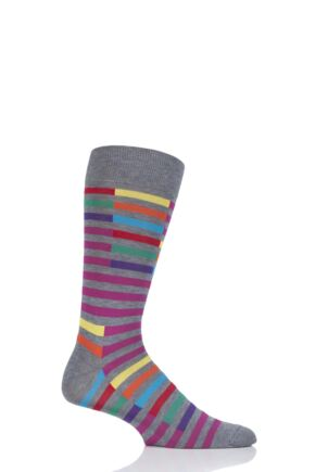Mens 1 Pair Richard James Santos Staggered Stripe Cotton Socks