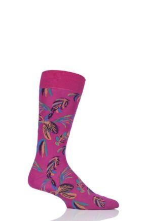Mens 1 Pair Pantherella Tuvalu Cotton Lisle Floral Socks