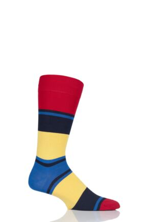 Mens 1 Pair Pantherella Suva Block Stripes Cotton Lisle Socks Scarlet 7.5-9.5 Mens