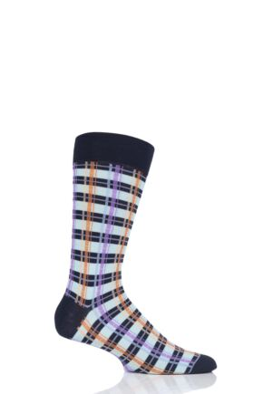 Mens 1 Pair Richard James Caibarien Cuban Check Cotton Socks