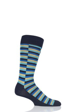 Mens 1 Pair Pantherella Bali Staggered Block Cotton Lisle Socks