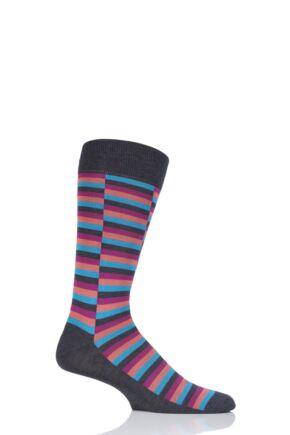 Mens 1 Pair Pantherella Bali Staggered Block Cotton Lisle Socks