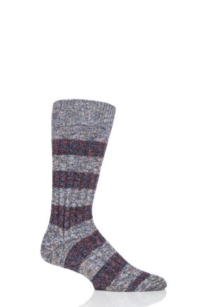 Mens 1 Pair Pantherella Eco Luxe Eden Stripe Recycled Socks