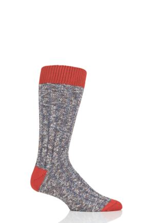 Mens 1 Pair Pantherella Eco Luxe Dean Contrast Heel and Toe Recycled Socks