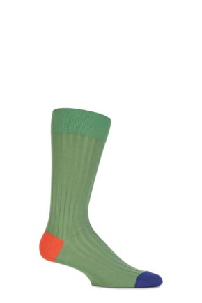 Mens 1 Pair Pantherella Mercerised Cotton Lisle Portobello Solid Colours Collection Socks Clover 10-12