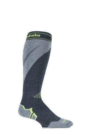Mens 1 Pair Bridgedale All Mountain MerinoFusion Midweight Ski Socks Gunmetal / Stone 9-11.5 Mens