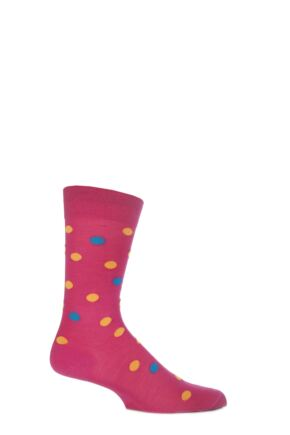 Mens 1 Pair Richard James Merino Wool Multi Coloured Polka Dot Socks 33% Off Hot Pink 6.5-8.5