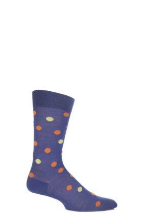 Mens 1 Pair Richard James Merino Wool Multi Coloured Polka Dot Socks 33% Off Purple 6.5-8.5