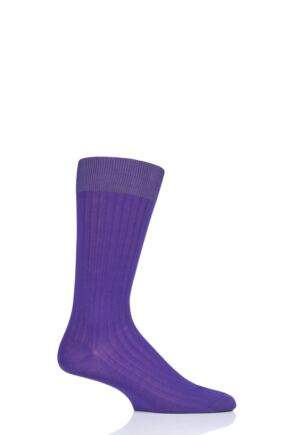 Mens 1 Pair Pantherella Danvers Rib Cotton Lisle Socks Crocus 10-12 Mens
