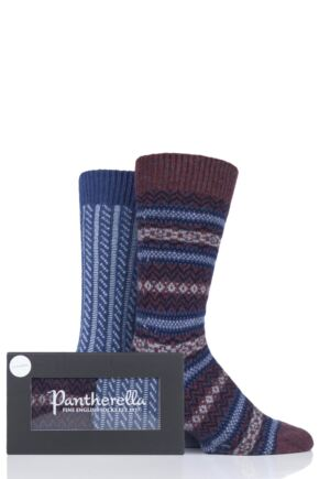 Mens 2 Pair Pantherella Fairisle and Cable Cashmere Gift Box