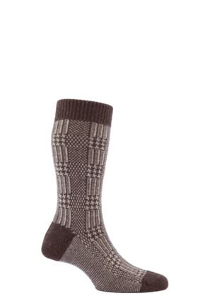 Mens 1 Pair Pantherella Cashmere Blend Rochford Prince of Wales Check Socks