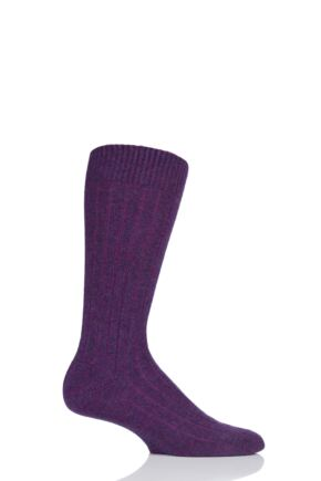 Mens 1 Pair Pantherella 85% Cashmere Rib Socks Magenta Denim 10-12 Mens
