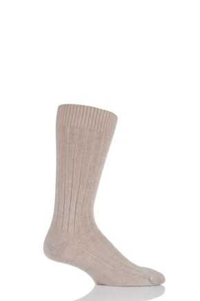 Mens 1 Pair Pantherella 85% Cashmere Rib Socks Natural 10-12