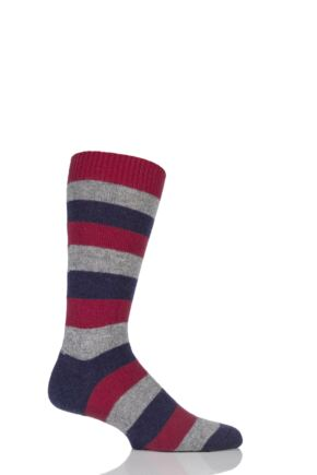 Mens 1 Pair Pantherella 85% Cashmere Rockingham Colour Block Striped Socks 25% OFF Plum 7.5-9.5