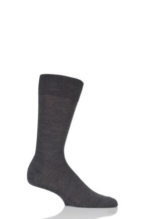 Mens 1 Pair Pantherella Camden Merino Wool Plain Socks Dark Grey Mix 7.5-9.5 Mens