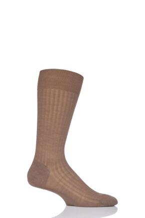 Mens 1 Pair Pantherella Merino Wool Rib Socks Dark Camel 7.5-9.5 Mens
