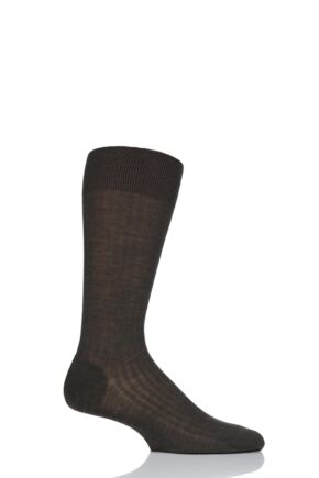 Mens 1 Pair Pantherella Merino Wool Rib Socks Dark Olive 10-12 Mens