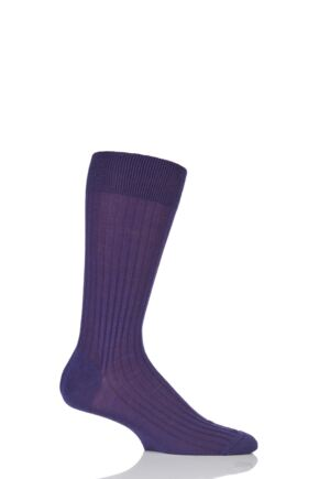 Mens 1 Pair Pantherella Merino Wool Rib Socks Dark Purple 6-8.5