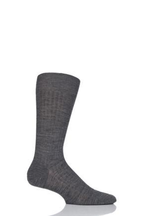 Mens 1 Pair Pantherella Merino Wool Rib Socks Mid Grey Mix 10-12 Mens