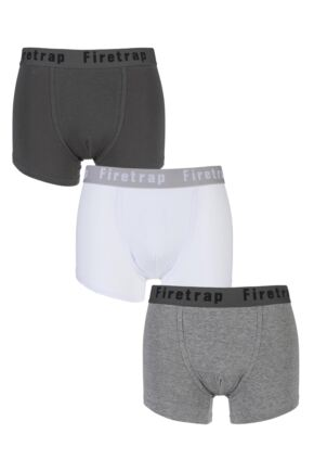 Mens 3 Pack Firetrap Plain Boxer Shorts