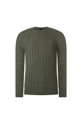 Mens Great & British Knitwear 100% Lambswool Chunky Cable Knit Crew Neck Jumper Landscape D Large