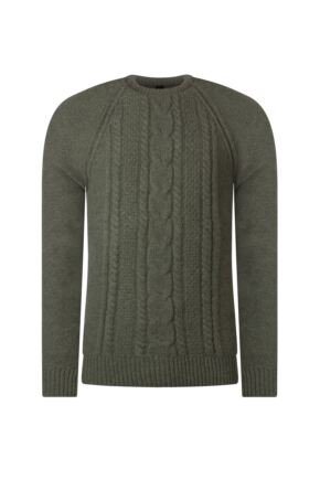 Mens Great & British Knitwear 100% Lambswool Chunky Cable Knit Crew Neck Jumper Landscape C Medium