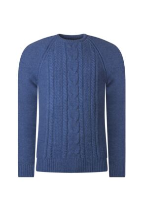 Mens Great & British Knitwear 100% Lambswool Chunky Cable Knit Crew Neck Jumper