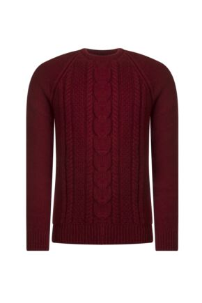 Mens Great & British Knitwear 100% Lambswool Chunky Cable Knit Crew Neck Jumper Magma B Small