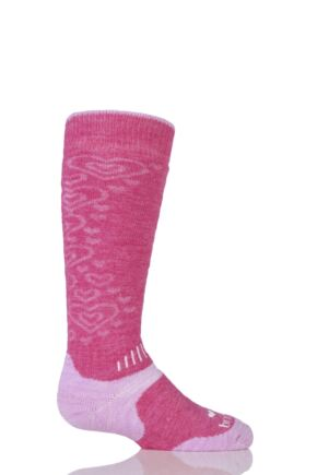 Kids 1 Pair Bridgedale All Mountain Winter Activity Socks for Maximum Warmth Raspberry & Pink
