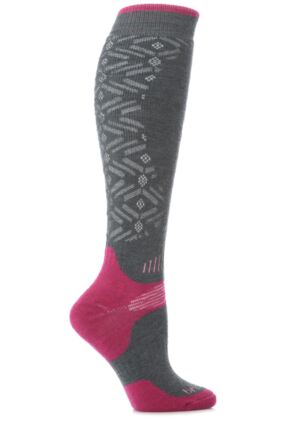 Ladies 1 Pair Bridgedale All Mountain Skiing, Snowboarding and Winter Activity Socks 33% Off Gunmetal / Berry 3-4.5