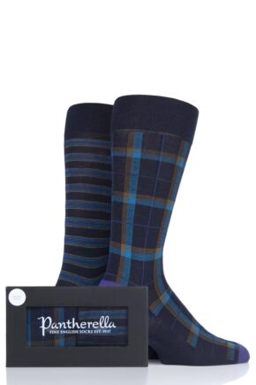 Mens 2 Pair Pantherella Stripe and Check Merino Wool Gift Box