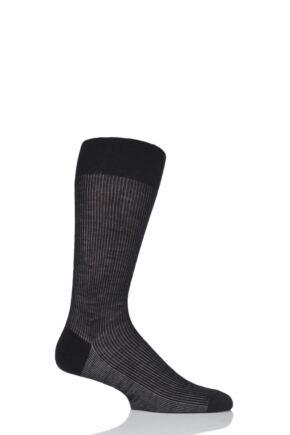 Mens 1 Pair Pantherella Ruxley Merino Wool Contrast Rib Socks