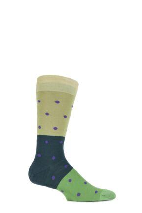 Mens 1 Pair Richard James Puno Spot and Block Striped Merino Wool Socks 33% OFF New Lime 7.5-9.5