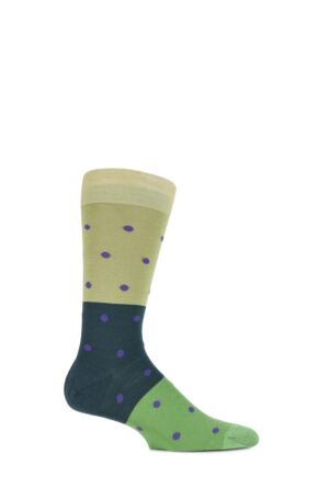 Mens 1 Pair Richard James Puno Spot and Block Striped Merino Wool Socks New Lime 9-11