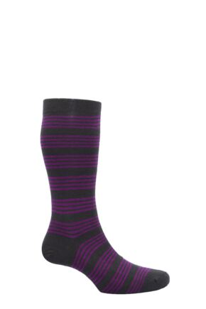 Mens 1 Pair Pantherella Merino Wool Spencer Banded Bright Striped Socks