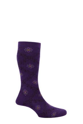 Mens 1 Pair Pantherella Merino Wool Tudor Lattice Socks Dark Purple 7.5-9.5