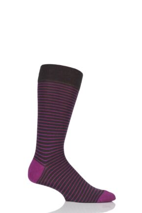 Mens 1 Pair Pantherella Modern Collection Stockwell Striped Merino Wool Socks Chocolate 10-12 Mens