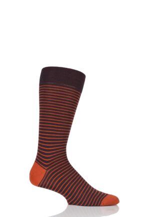 Mens 1 Pair Pantherella Modern Collection Stockwell Striped Merino Wool Socks Maroon 6-8.5 Mens
