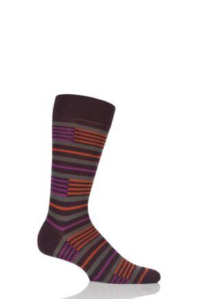 Mens 1 Pair Pantherella Modern Collection Brixton Banded Stripe Socks Maroon 6-8.5 Mens