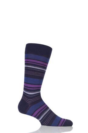 Mens 1 Pair Richard James Strathnaver Varied Stripe Merino Wool Socks Blackberry 9-11.5 Mens