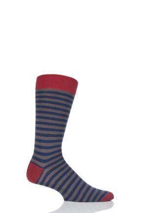 Mens 1 Pair Pantherella Harrow Stripe with Contrast Heel and Toe Merino Wool Socks