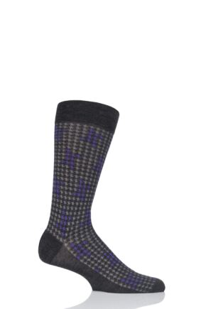 Mens 1 Pair Pantherella Hopton Highlighted Houndstooth Merino Wool Socks Charcoal 10-12