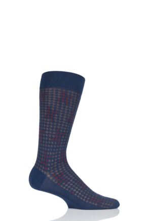 Mens 1 Pair Pantherella Hopton Highlighted Houndstooth Merino Wool Socks