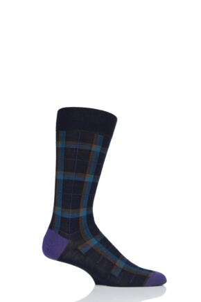 Mens 1 Pair Pantherella Thackeray Tartan Contrast Heel and Toe Merino Wool Socks