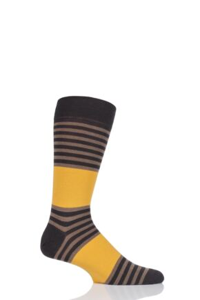 Mens 1 Pair Richard James Marc Block Stripe Merino Wool Socks