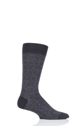 Mens 1 Pair Pantherella Daplyn Jacquard Diamond Merino Wool Socks