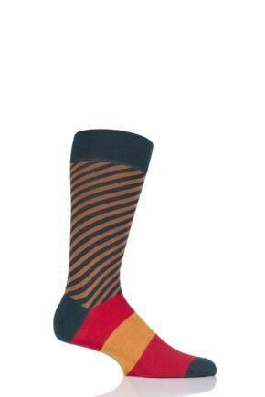 Mens 1 Pair Richard James Kerr Diagonal Stripe with Block Foot Merino Wool Socks