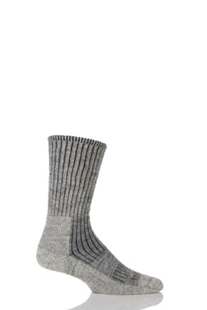 Mens 1 Pair Bridgedale Comfort Trekker Socks For All Day Trekking and Hiking Stone Grey M